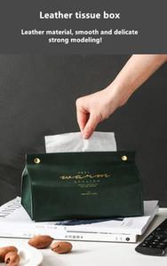 Livraison gratuite 4pcs en cuir Tissue Box Pumping Box Salon du ménage Creative tissu couverture papier sac voiture thé Table papier Boîte de pompage