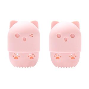 Creative-6 Farben-nette hohle Katze-Silikon-Make-up Schwamm Behältertrockenhalter Puderquaste Kosmetik Basket Ständer