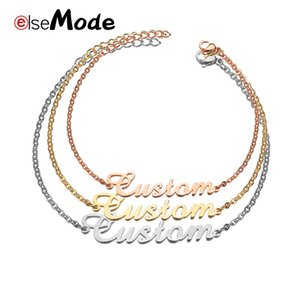 ELSEMODE Romantic Custom Jewelry Personalized Name Bracelet For Women Gold Pulseira Masculina Charm Bracelet Stainless Steel
