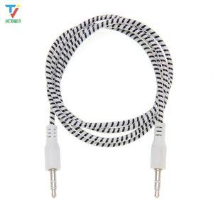 Wholesale 300pcs lot 3.5mm Audio Cable Plastic ring 3.5 jack to jack aux cord 1m Headphone Speaker AUX Cable for iphone 5 6 samsung Car MP3