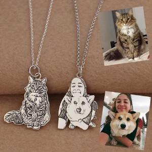 Colar S925 prata personalizada do animal de estimação animal da jóia do cão da foto do gato Colares do Gravada Nome da foto do cão Colar Mulheres Memorial
