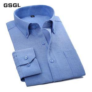 Langärmliges festes Herren Oxford Businesshemd mit linker Brusttasche Hochwertige Herren Casual Regular-Fit Tops Button Down Shirts