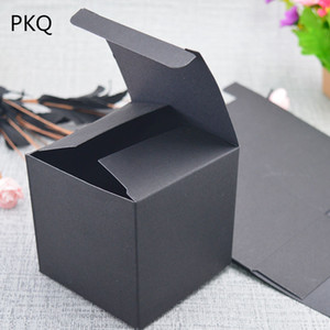 30 حجم أسود هدية مربع من الورق المقوى ورق الكرافت للتعبئة ، وصناديق التعبئة والتغليف كرافت ، DIY صناديق حلوى الزفاف الأبيض اليدوية صناديق الصابون