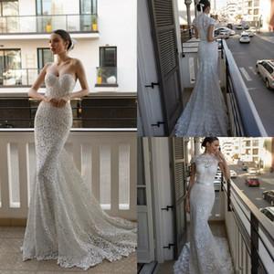 2020 Julie Vino Denizkızı Gelinlik ile Kısa Ceket Tren Dantel Aplike Bohemian Gelinlik Custom Made Gowns Sweep Sweetheart
