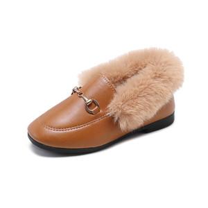 Inverno Bota de Neve New Plush Veludo Sapatos de couro Chaussure Enfant Princess Party meninas miúdos sapato tamanho 26-35