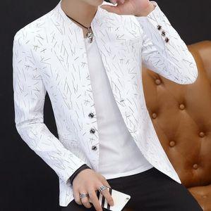 Hombres chaqueta informal collar del cuello al aire libre chaqueta delgada del ajuste juventud hombre guapo de manga larga chaqueta de impresión tendencia Delgado