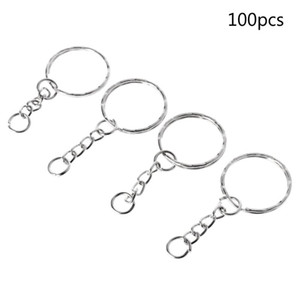 100 pçs / set DIY 25mm Chaveiro Chaveiro Dividir Anel Cadeia Curta Chave Fob Anéis Artesanato