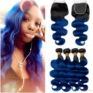 # 1B Blau Ombre Körper-Wellen-Menschenhaar-Spitze-Schliessen 4x4 mit Bundles Dark Blue Ombre brasilianischen Wellenförmige Menschenhaar Tressen 4Bundles mit Closure