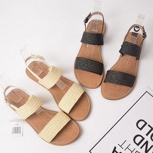 2020 hot-selling new rome style fashion large size sandals women summer elastic word with open-toed flat-heeled straw