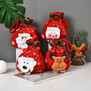 Cute Christmas Doll Candy Bags Gift Bag Santa Claus Christmas Tree Ornament Brushed Cloth Festival Home Layout Decorations