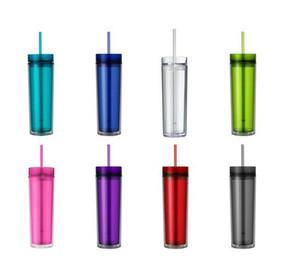 Copa 16 oz Acrílico flaco Vaso de doble pared de agua libre de BPA Botella agua directamente la taza del viaje de plástico de café Taza de cerveza con la paja A03