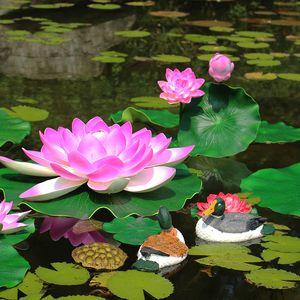 اصطناعية لوتس ريال اللمس المياه الزنابق الحرير العائم زهور الزنبق رئيس النباتات يغادر الى بركة السمك دبابة الرئيسية yardGarden فندق الديكور