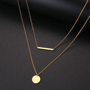 Collier de cou de cou pour femme Double pendentif rond et bâton en alliage métal pendentif créatif bijoux or argent bijoux cadeau 2pcs / set