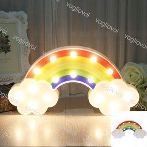 Novità illuminazione notte luce arcobaleno lampade da parete a batteria alimentato per camere per bambini arredamento decorazioni in plastica tavola party luci decorative DHL