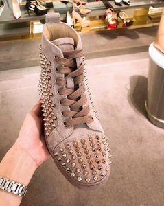 [With all accessories ] Top version Italy Made Fashion Red Bottom Sneakers For Men's All Spikes Sneakers Suede Genuine Leather ,Luxury Party