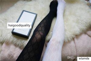 Preto Branco Lace Pantynose Sexy malha Mangueira Hot Sale oco Europeu Style Out longa carta Leggings Meias