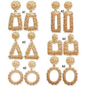 Bohemian Büyük Geometrik Bildirimi Dangle küpe kadınlar Için Altın Gül Altın metal Asılı Damla Küpe Moda Takı Toplu