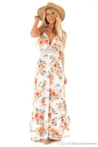 V Yaka Dantel Kasetli Giydirme Moda Tasarımcısı Backless Bohemian Elbiseler Yaz Çiçek Baskılı Bayan Elbise Bayan