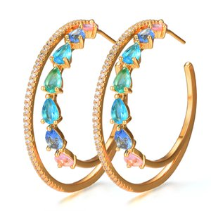 GODKI 47mm Luxury 2 Rows Cubic Zircon Big Statement Hoop Earrings For Women Wedding DUBAI Bridal Circle Hoop Earrings 2019