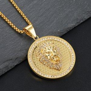 Кулон Ожерелья Мужчины Hiphop Lyed Out Bling Lion CZ Циркон Нержавеющая сталь Мода Форма Животные Ожерелье Ювелирные Изделия