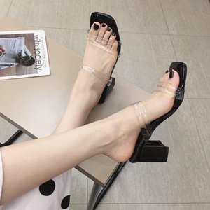Pretty2019 Cool Woman Summer Wear Sociología Zapatilla áspera con sandalias Adhesivo transparente blanco