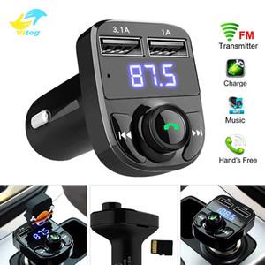 Vitog의 X8 자동차 FM 송신기 보조 변조기 키트 블루투스 핸즈프리 차량용 오디오 수신기 MP3 플레이어 3.1A 급속 충전 듀얼 USB 차량용 충전기