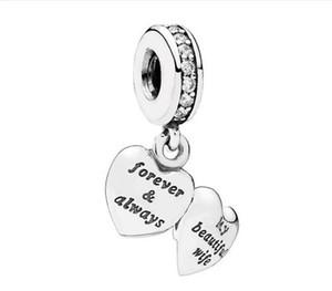 Authentic S925 Sterling Silver Minha Linda Esposa Charme Pingente Com Cubic Zirconia Beads Fit Para Pulseira Pandora Europeia DIY Talão Encantos