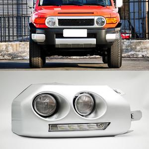 2007 2008 2009 2010 2011 2012 2013 2014 Toyota Fj Cruiser için hafif sis lambası çerçevesi Sis farı 2pcs Otomobil için LED DRL Gündüz
