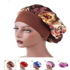 New Fshion Women Satin Night Sleep Cap Hair Bonnet Hat Silk Head Cover Wide Elastic Band Shower Cap .