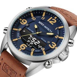 KT relógio de pulso dos homens Relógio de luxo para Estilo Quartz Men Couro Assista Man Army Militar Digital Gents KT1818 Waterproof Casual