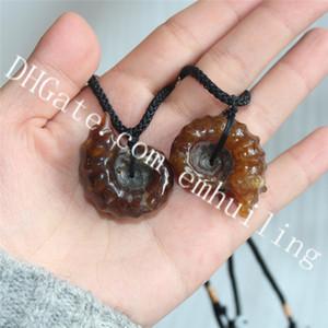 10pcs 염소 뿔 Ammonite Douvilleiceras 화석 조개 목걸이 긍정적 인 흐르는 나선형 자연 노틸러스 Pompiplius 재스퍼 보석 펜던트
