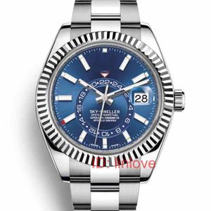 로즈 골드 패션 럭셔리 작업 작은 GMT 자동 이동 스카이 스트랩 거주자 남성 스포츠 남성 손목 시계 여성 시계 시계 남자 다이얼