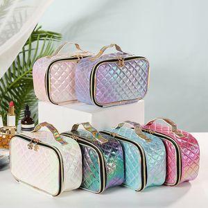 Bolsas de maquillaje Bolsas de cosméticos Amor Pink Travel Bag PU Mano Cosmeticbag Maquillaje Magdalbags Carta Holograma Lentejuelas Gran Capacidad Almacenamiento Impermeable