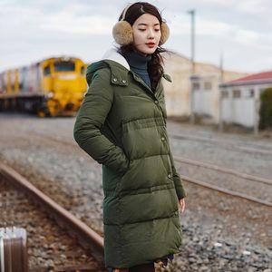 INMAN nuova giacca invernale giù di velluto con cappuccio caldo nel lungo tratto di SH190925 femminile