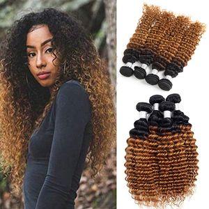 Dark Honey Blonde Hair Color Full 1B 30 Blonde Ombre Brazilian Deep Wave Curly Human Hair Weave Weft Extensions 3 4 Bundles