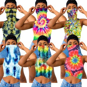 Women T Shirt Tie-dye Floral Printed Vest Sleeveless T-shirt With Face Mask Crop Top Girls Fashion Lady Clothes S-XXXL sale D6905