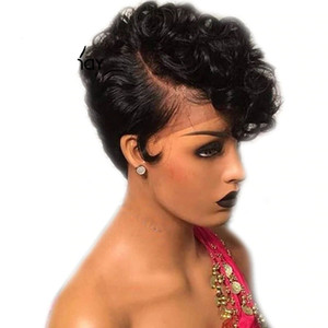 13x4 corti capelli umani parrucche per donne di colore Pre pizzico Bob Pixie parrucca di Remy brasiliano glueless anteriore dei capelli umani parrucche 150% Densità