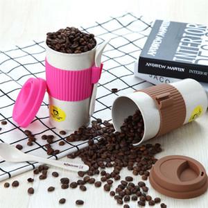 Tazas de café de Rose Taza de café de fibra de trigo con tapas y cuchara Taza de café de viaje BPA libre Comida Drinkware