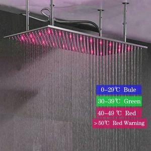 새로운 자동 온도 조절 3 색 변경 수중 글로 LED 조명 된 샤워 헤드 큰 크기 Ducha Rain 소나기 헤드
