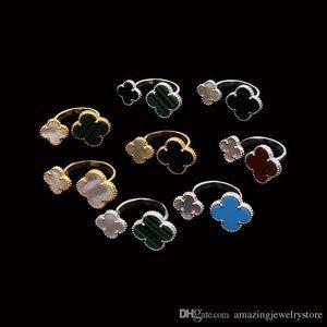 2018 Material de latón superior anillo de diseño de parís 1.0 cm flor + 1.4 cm piedra natural y concha decorar anillo de tamaño libre para mujeres y amiga joya