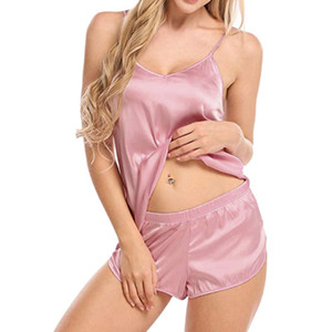 Womens Ultra-Thin Imitation Silk Two Piece Pajamas Set Sexy See Through Deep V-Neck Camisole Sleepwear Side Split Shorts