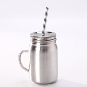 500ML Mason vaso tarro de albañil de acero inoxidable de pared doble vaso con tapa de mango y de fugas tapa a prueba de la botella de agua