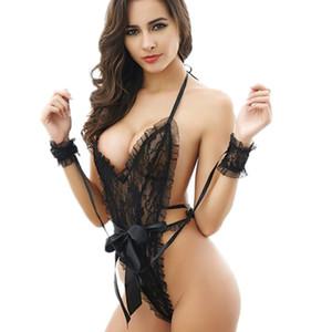 Französisch-reizvolle Wäsche Slip Nachtwäsche Romantische Nachtwäsche Sexy Shop Spitze Intimates aushöhlen Handschellen Lieber Beleg-Frauen-Unterwäsche