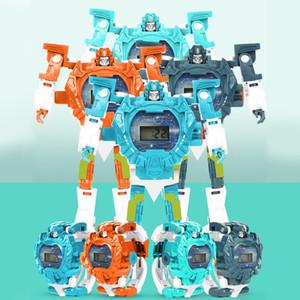 Transformar Juguetes Robot reloj de pulsera niños 3en1 proyección de reloj digital Deformación del robot de rescate regalo de los juguetes de aprendizaje electrónico