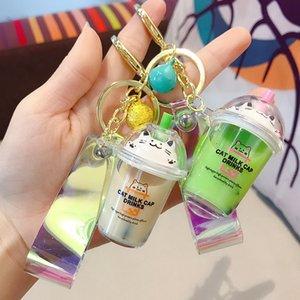 Mode voiture Keychain mignon de chat Milk Drink Cap Cup liquide Quicksand pour Charms femmes Keyring Sac pendentif Porte-clés