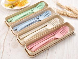 Portátil de paja de trigo Vajilla ecológica cuchara tenedor palillos conjunto Alimentación 4 colores reutilizable del camping cubiertos conjunto LXL724-1