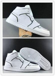 1 WMNS Mid SE Iridescent Reflective Men Basketball Designer Shoes White Black I Fashion Sport Zapatos 1s Sneakers