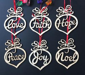 Noel Dekorasyon Noel Ağacı Süsler Için Ahşap Kalp Hollow Kalp Kabarcık Kolye Harfler Asılı Süsler Parti Dekor 6 adet / takım XD20208