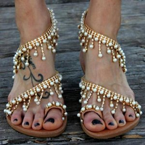 43 Large Bead Sandals Womens 2020 Summer New European And American Handmade Beaded Fashion Womens Shoes Boys Boots Kids ShoesMwvv#