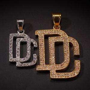 Yeni Erkekler Bling Bling Tam Kübik Zirkon Dream Chaser Kolye Kolye Erkekler Hip Hop Altın Renk Çinko Paslanmaz Çelik DC Kolye Takı